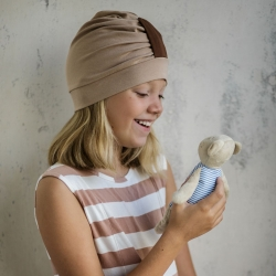 Turban hat with strip