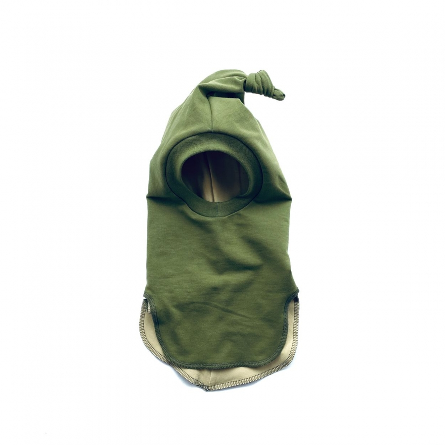 Olive green baby balaclava for spring or fall