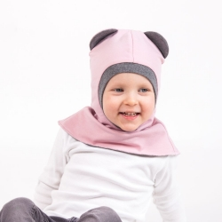 Dusty Pink bear Balaclava  (Gray ears)