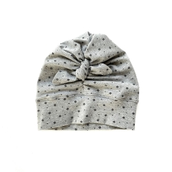 Turban grey baby girl hat with crowns (DOT FLOWER)