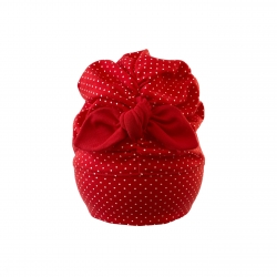 baby red girl turban with dots