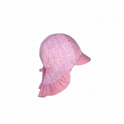 Pink girl sunhat with ruffled neck protection
