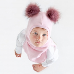 Baby winter balaclava with pompoms