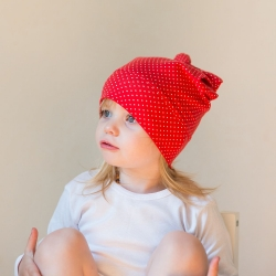Beanie with bow  (RED with dots)