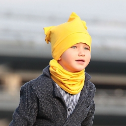 Yellow beanie and neck scarf set